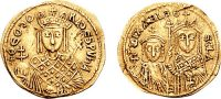 Empress Theodora on a gold coin, with her son and daughter on the other side.