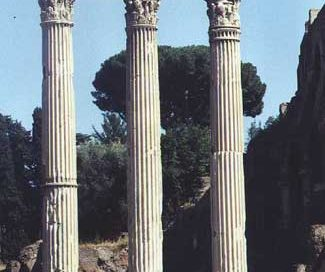 These three columns are what is left of the Roman temple of Castor and Pollux in the Forum