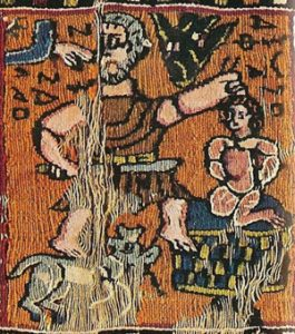 Abraham and Isaac (Egypt, 300s AD): Coptic embroidery