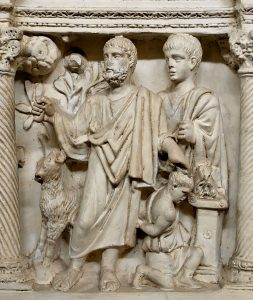 Abraham and Isaac again, from the sarcophagus of Junius Bassus, Rome, 359 AD (now in the Vatican).