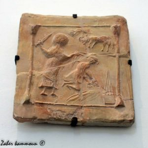 Abraham and Isaac, on a Byzantine tile from Tunisia, 500s-600s AD