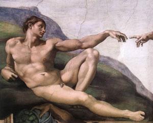 Michelangelo's Adam (Sistine Chapel, ca. 1508 AD)