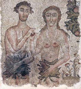 Adam and Eve mosaic (northern Syria, ca. 500 AD. Now in Cleveland)