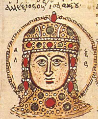 Alexius IV: A white man in a jeweled helmet