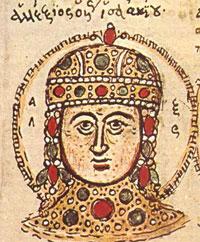 Alexius IV: A white man in a jeweled helmet