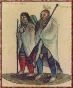 Algonquin people with wool blankets