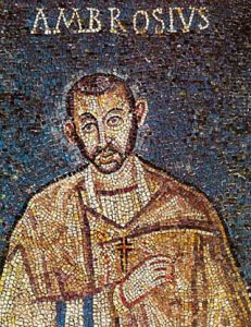 Ambrose: a mosaic of a white man with a short beard and his name written over him in Latin