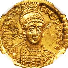 Anastasius I on a gold coin