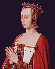 Anne of France: a white woman in a red dress with folded hands praying