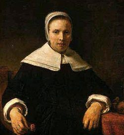 Anne Bradstreet: a white woman wearing a black dress and white cap and collar