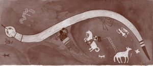 A painting shows a long white snake, and under it some horses, some with people riding them. (The Apache get horses)