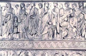 The carved frieze on the Ara Pacis shows Augustus and his household going to perform a traditional religious sacrifice.