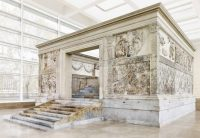 The Ara Pacis - the Altar of Peace. Originally it was outside, but today a roof protects it.