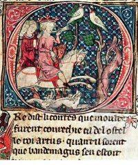 King Arthur hunting, 1300s AD (British Library, London)