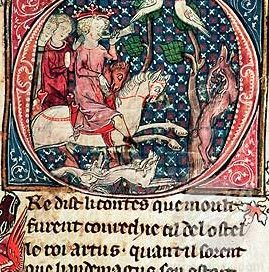 King Arthur hunting, 1300s AD (British Library, London)