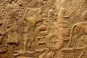 Assyrian prisoners of war from the siege of Lachish. Sennacherib's palace at Nineveh, 704-681 BC. (now in the British Museum)