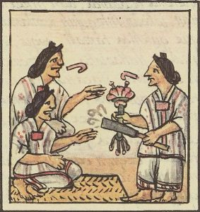 Drawing of three women talking animatedly. Two of them reach for smoking tubes held by the third one.(1500s AD) - History of tobacco