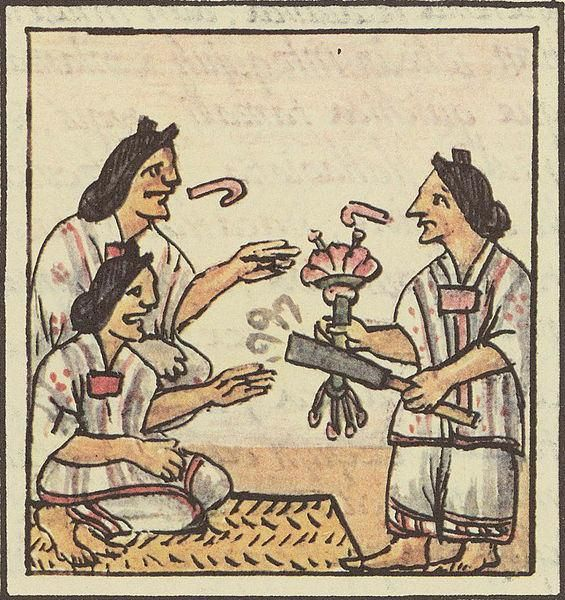 Aztec women using tobacco at a party (1500s AD)
