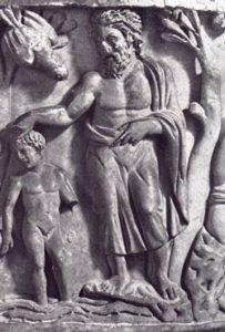 JohnbaptizesJesus (sarcophagus from SantaMaria Antiqua, Rome, 200s AD)