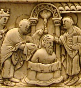 Ivory carving of the baptism of Clovis