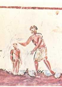 One of the earliest Christian baptism images, from the catacomb of St. Callisto in Rome (200s AD)