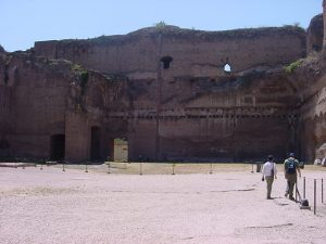 An exercise courtyard at one end of the Baths of Caracalla in Rome