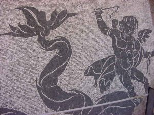Baths of Caracalla - mosaic of sea creatures from the bottom of the swimming pool