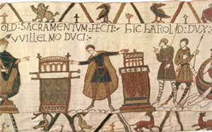 Feudalism: Harold swears an oath to William (Bayeux Tapestry, about 1077 AD)