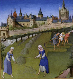 Medieval peasant clothing, from the Très Riches Heures du Duc de Berry (1400s AD): Feudalism