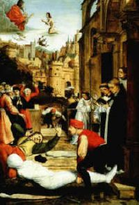 The Black Death in a medieval painting