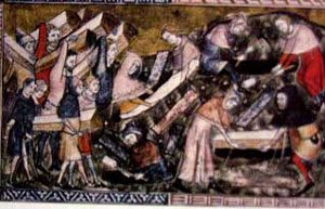 Burying people who died of plague