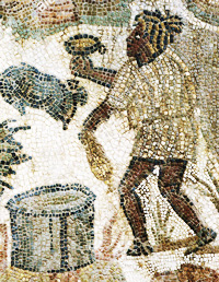 A man in a tunic with dreads in Roman North Africa