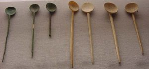 Spoons made out of bone from ancient Rome