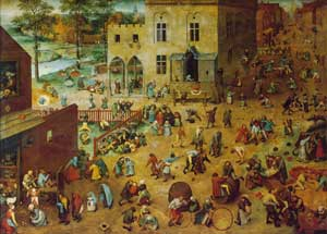 Pieter Brueghel, Children's Games: a painting of a lot of little children playing games outside