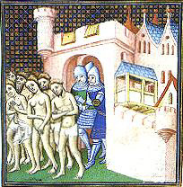 Albigensians pushed out of Carcassonne by French soldiers in 1209 AD
