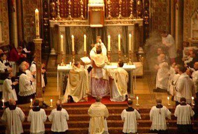 Catholic priests celebrating Mass