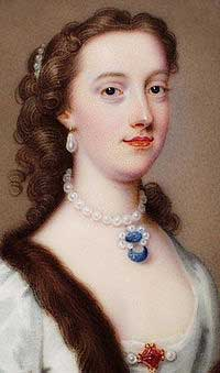 Margaret Cavendish: a white woman with a pearl necklace on