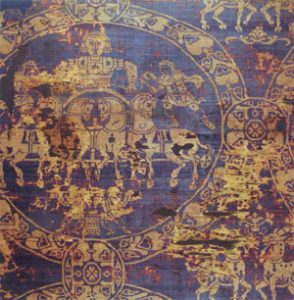 Charlemagne's burial shroud, made of silk imported from Constantinople (814 AD)