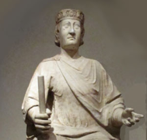 Charles of Anjou, King of Naples - a stone statue of a white man with a crown