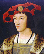 Charles VIII: A young white man with black hair and a fancy red hat