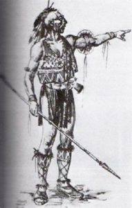 A Native man with a mohawk, wearing a beaded vest, high boots, and a loincloth, and carrying a spear