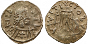 A coin of Childebert II, Brunhilde's son
