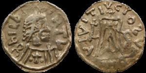 A coin of Childebert II, Brunhilde's son