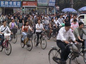 Riding bikes in China