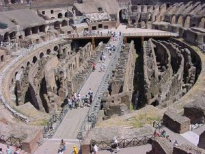 Basement level of the Colosseum, rooms and hallways with the floor above them missing
