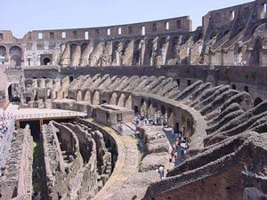 Seats in the Roman Colosseum - torn up so only the brick substructure is left