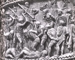 Column of Marcus Aurelius: Roman soldiers cut off the heads of Dacian prisoners.