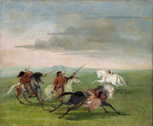 George Catlin, Comanche riding horses (1834)