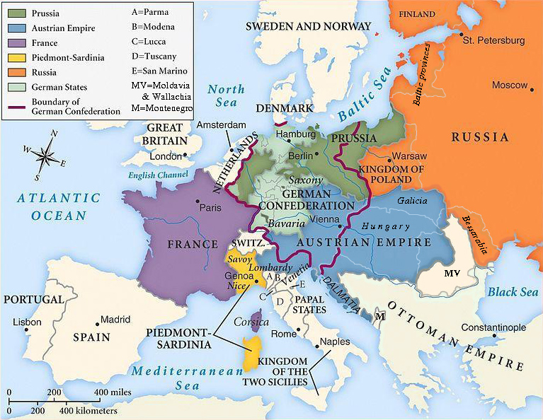 Map of Europe after the Congress of Vienna (thanks to Wikipedia)