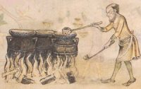A man ladles porridge from a large pot over a fire